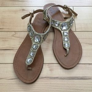 Gold Snake Print with Jewel Bling Sandals!